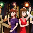 Young people celebrating New Year — Stock Vector