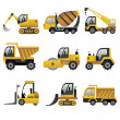 Big construction vehicles icons — Vector de stock #33161239