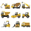 Stock Vector: Big construction vehicles icons