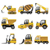 Big construction vehicles icons — Vector de stock