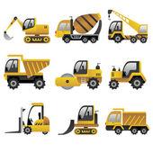 Iconos de vehículos de construcción grande — Vector de stock