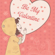 Valentine card with Be My Valentine words — Stok Vektör