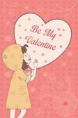 Valentine card with Be My Valentine words — Stock Vector
