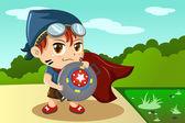 Chłopiec w kostium superbohatera — Wektor stockowy