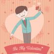 Valentine card with Be My Valentine words — Vettoriale Stock