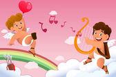 Cupid Valentine background — Stock Vector