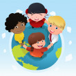 Stock Vector: Multi ethnic kids holding hands together