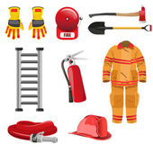 Firefighters icons — Stock Vector