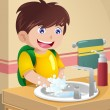 Little boy washing hands — Stock Vector #34504991