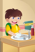 Little boy washing hands — Stock Vector