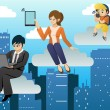 People using different mobile device in clouds computing environ — Stock vektor #34853323