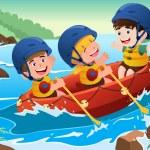 Kids on boat — Stock Vector #34899889