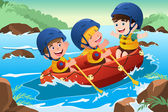 Kids on boat — Stock Vector