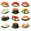 Sushi icons — Stock Vector