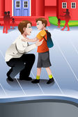 Father picks up his son from school — Stock Vector