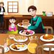 Stay at home father eating breakfast with his kids — Векторная иллюстрация