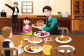 Stay at home father eating breakfast with his kids — Vetorial Stock