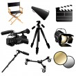 Stock Vector: Filming movie icons