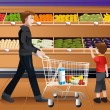 Father and his kids doing grocery shopping — Stock Vector