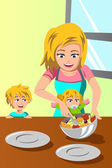 Mother and her kids preparing salad — Stock Vector