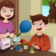 Mother helping son build a science project — Vector de stock