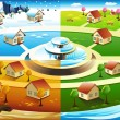 Village in four season — Vector de stock #36028935