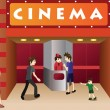 Young people hanging out outside a movie theater — Stock Vector