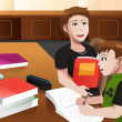 Father helping his son doing homework — Stock Vector