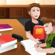 Stock Vector: Father helping his son doing homework