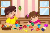 Yumurta boyama çocuklar — Stok Vektör