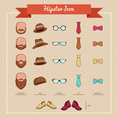 Hipsters icons — Stock Vector