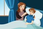 Sick kid taking medicine — Stock Vector