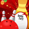 Bowling party invitation template — Stock Vector