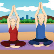 Senior couple doing yoga exercise — Stock Vector