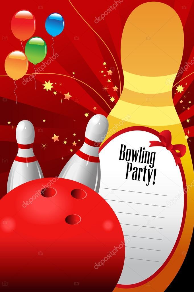 Bowling Partij Uitnodiging Sjabloon Stockvector