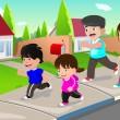 Family running outdoor in a suburban neighborhood — Stock Vector