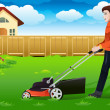 Man mowing the lawn — Stock Vector #38121591