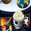 Kids on a field trip to a planetarium — Stockvector