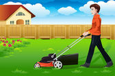Man mowing the lawn — Stock Vector