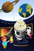 Kids on a field trip to a planetarium — Stock Vector