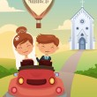 Stock Vector: Bride and groom riding a car after wedding