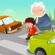 Kid helping senior lady crossing the street — Stock Vector