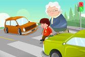 Kid helping senior lady crossing the street — Stock Vector