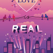 """Love is Real"" design — Stock Vector"