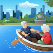 Senior couple enjoying their retirement — Stock Vector