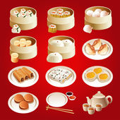 Dim sum icons — Stock Vector
