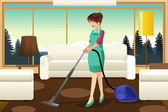 Professional maid vacuuming carpet — Stock Vector