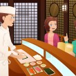 Customers ordering sushi — Stock Vector #39720341