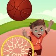 Kid playing basketball — Stock Vector