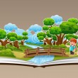 Stock Vector: Pop Up Book with Forest Theme